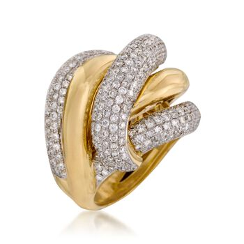3.60 ct. t.w. Diamond Crisscross Ring in 18kt Yellow Gold. Size 6, , default