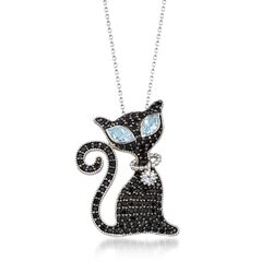 "2.00 ct. t.w. Black Spinel and 1.40 ct. t.w. Blue and White Topaz Cat Pin Pendant Necklace in Sterling. 18"", , default"
