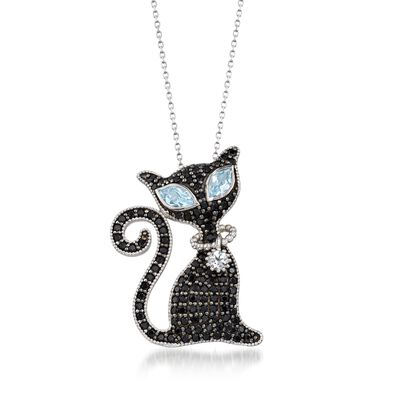 2.00 ct. t.w. Black Spinel and 1.40 ct. t.w. Blue and White Topaz Cat Pin Pendant Necklace in Sterling, , default