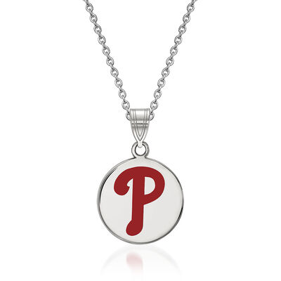 "Sterling Silver MLB Philadelphia Phillies Enamel Disc Pendant Necklace. 18"", , default"