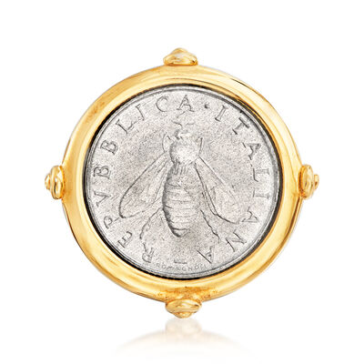Italian 18kt Gold Over Sterling 2-Lira Bee Coin Ring, , default