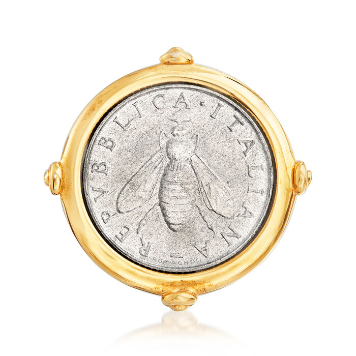 Italian 18kt Gold Over Sterling 2-Lira Bee Coin Ring