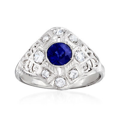 C. 1940 Vintage .65 Carat Sapphire and .40 ct. t.w. Diamond Ring in 14kt White Gold