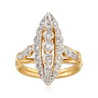 C. 1980 Vintage .30 ct. t.w. Diamond Navette Ring in 14kt Yellow Gold, , default