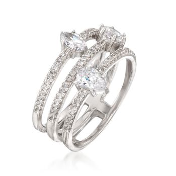 1.48 ct. t.w. CZ Three-Row Ring in Sterling Silver, , default