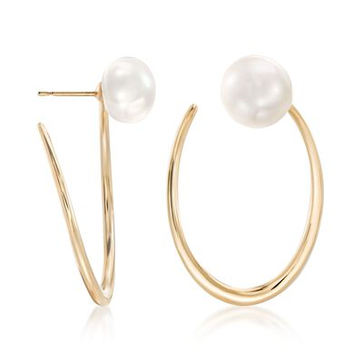 11.5-12mm Cultured Pearl Front-Facing Hoop Earrings in 18kt Gold Over Sterling, , default