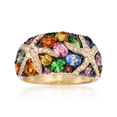 2.80 ct. t.w. Multicolored Sapphire and .25 ct. t.w. Diamond Starfish Ring with .40 ct. t.w. Tsavorites in 14kt Gold