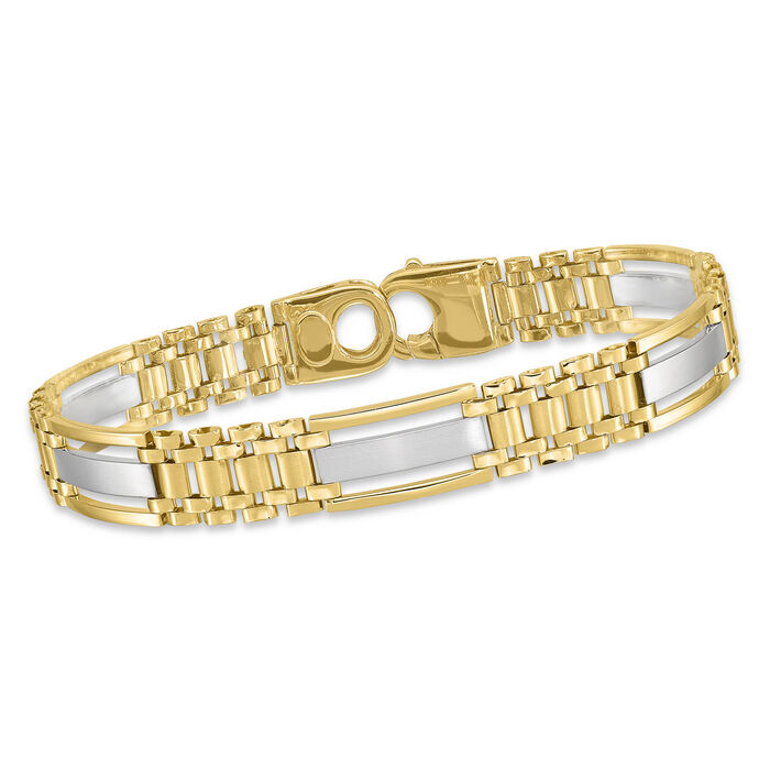 "Men's 14kt Two-Tone Polished and Satin Link Bracelet. 8.75"", , default"