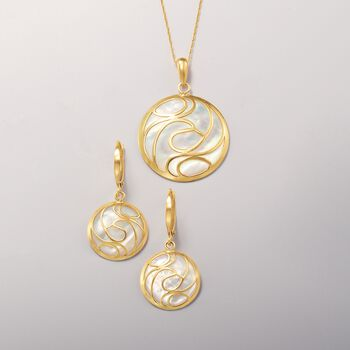 Mother-Of-Pearl Swirl Earrings in 14kt Yellow Gold, , default