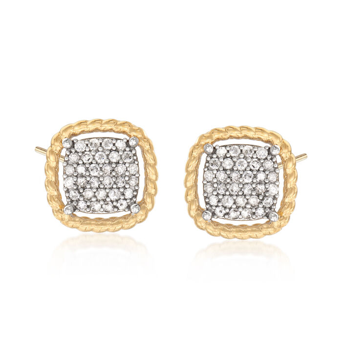 .75 ct. t.w. Diamond Stud Earrings in 18kt Yellow Gold Over Sterling Silver