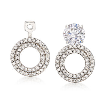 .26 ct. t.w. Diamond Circle Convertible Earring Jackets in 14kt White Gold