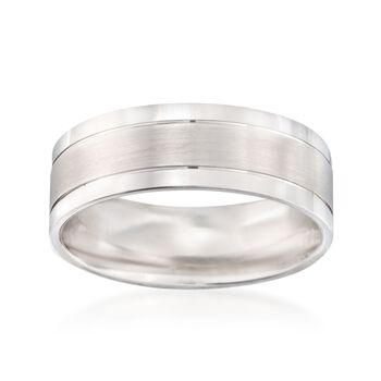Men's 7mm 14kt White Gold Wedding Ring. Size 10, , default