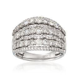 2.26 ct. t.w. Diamond Wide Multi-Row Ring in 14kt White Gold, , default