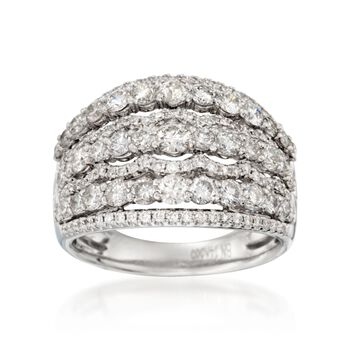 2.26 ct. t.w. Multi-Row Wide Diamond Ring in 14kt White Gold, , default