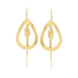 14kt Gold Over Sterling Silver Teardrop and Fringe Drop Earrings, , default