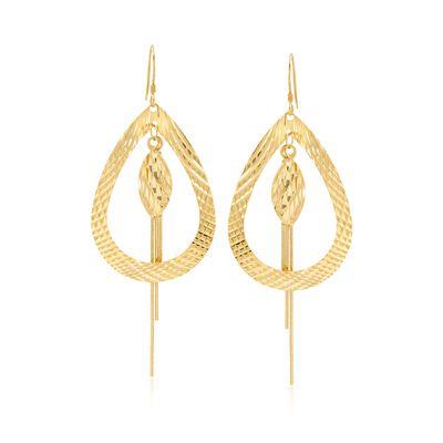 14kt Gold Over Sterling Silver Teardrop and Fringe Drop Earrings, , default