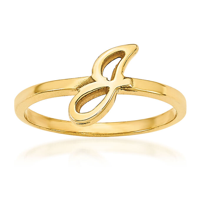 14kt Yellow Gold Laser Polished Initial Ring