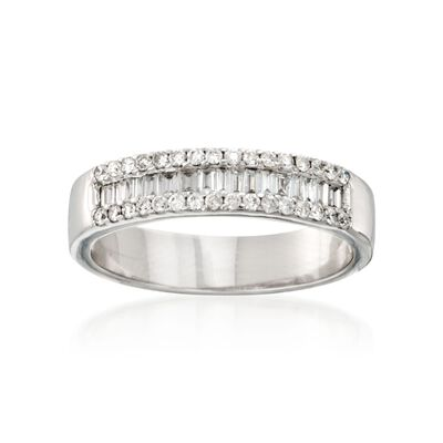 .47 ct. t.w. Baguette and Round Diamond Ring in 14kt White Gold