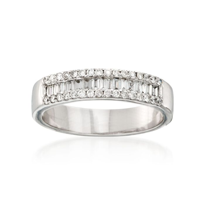 .47 ct. t.w. Baguette and Round Diamond Ring in 14kt White Gold, , default