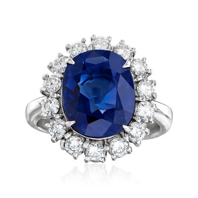 C. 2000 Vintage 5.26 Carat Certified Sapphire and .98 ct. t.w. Diamond Ring in Platinum, , default