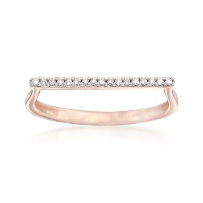 14kt Rose Gold Bar Ring with Diamond Accents, , default