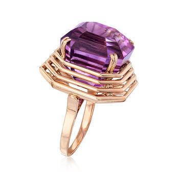 C. 1940 Vintage 26.50 Carat Amethyst Ring in 10kt Rose Gold. Size 7, , default