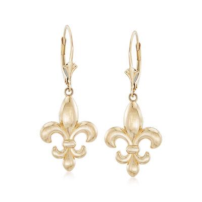 Italian 14kt Yellow Gold Fleur-De-Lis Drop Earrings, , default