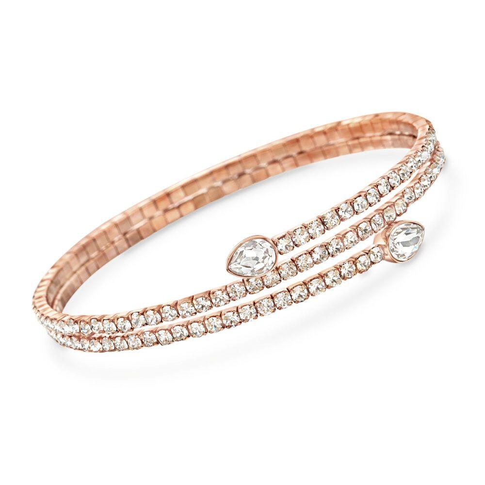 Swarovski Crystal Twisty Drop Wrap Bracelet In Rose Gold Plate