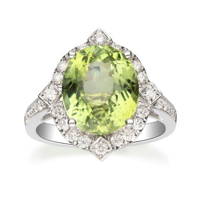 6.25 Carat Green Tourmaline and .52 ct. t.w. Diamond Ring in 14kt White Gold