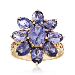 C. 1980 Vintage 4.70 ct. t.w. Iolite Floral Ring in 10kt Yellow Gold, , default