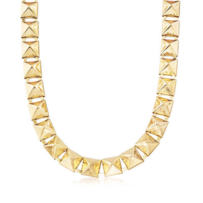 12mm Pyramid-Shaped Necklace in Gold-Tone Metal, , default