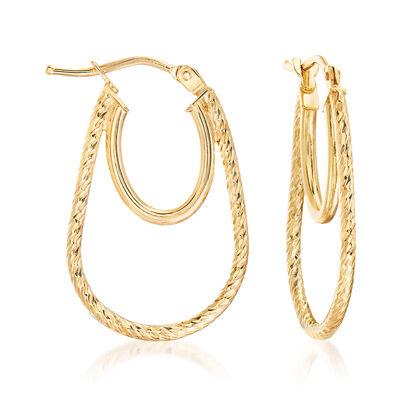 Italian 18kt Yellow Gold Oval-Shaped Double-Hoop Earrings, , default