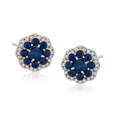 1.80 ct. t.w. Sapphire and .25 ct. t.w. Diamond Flower Earrings in 14kt White Gold, , default