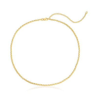 14kt Yellow Gold Rolo Chain Choker Necklace
