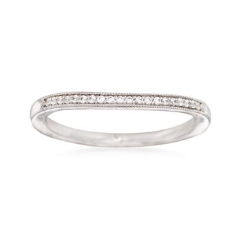 Gabriel Designs 14kt White Gold Curved Wedding Ring With Diamond Accents, , default