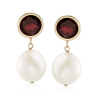 9.5-10mm Cultured Pearl and 4.00 ct. t.w. Garnet Drop Earrings in 14kt Yellow Gold, , default