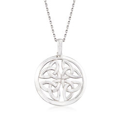 Sterling Silver Celtic Trinity Knot Pendant Necklace, , default