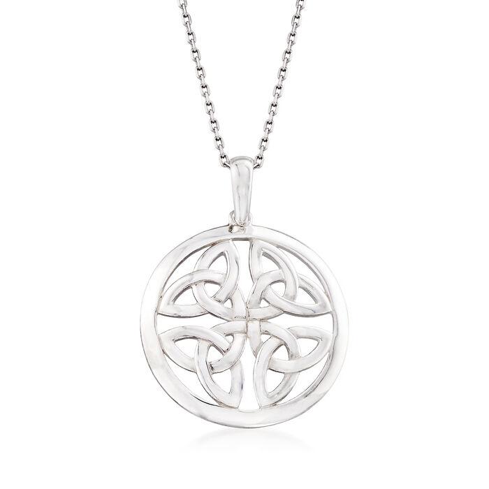 "Sterling Silver Celtic Trinity Knot Pendant Necklace. 18"", , default"
