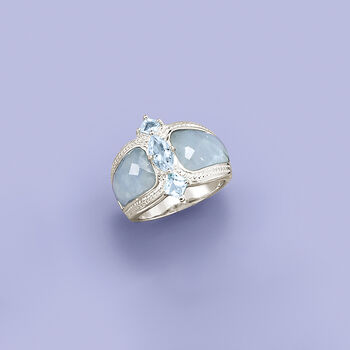 Milky Aquamarine and .85 ct. t.w. Blue Aquamarine Ring in Sterling Silver, , default