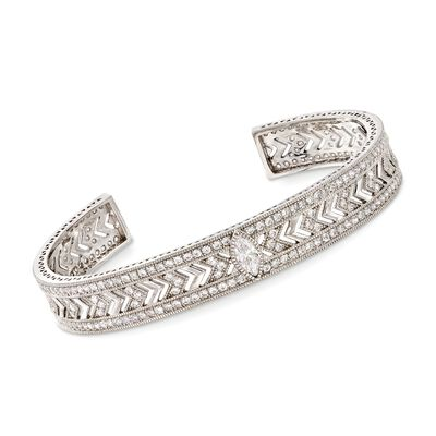 4.10 ct. t.w. Round and Marquise CZ Cuff Bracelet in Sterling Silver