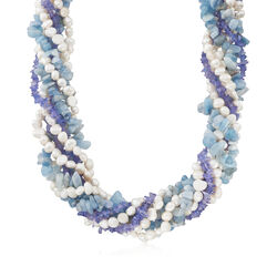 5-7mm Cultured Pearl and Free-Form Multi-Stone Bead Torsade Necklace With Sterling Silver, , default