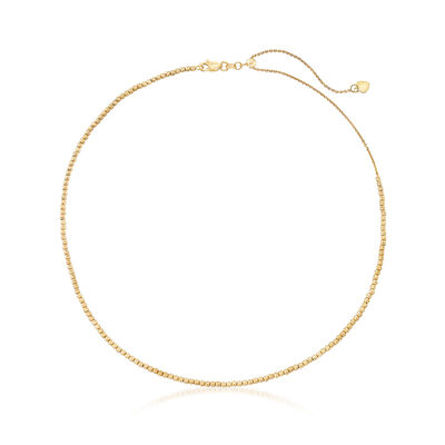 14kt Yellow Gold Diamond-Cut Bead Choker Necklace , , default
