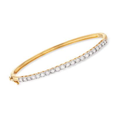 1.00 ct. t.w. Diamond Bangle Bracelet in 18kt Gold Over Sterling