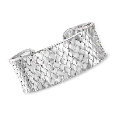 Italian Sterling Silver Basketweave Cuff Bracelet