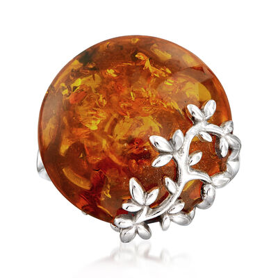 Amber Floral Ring in Sterling Silver, , default