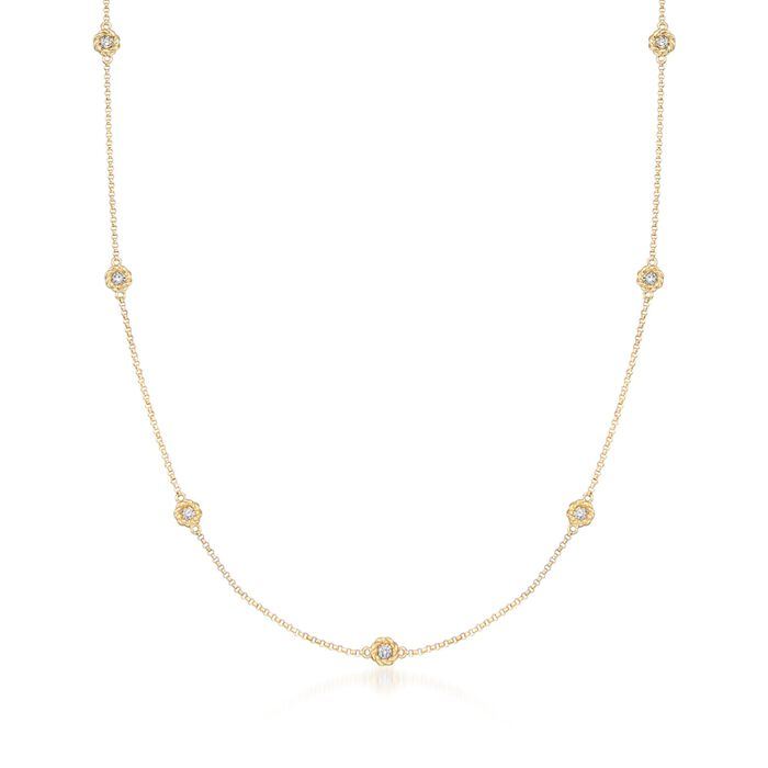 """Roberto Coin """"Baroco"""" .43 ct. t.w. Diamond Station Necklace in 18kt Gold. 16"""", , default"""