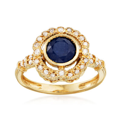 1.50 Carat Sapphire and .25 ct. t.w. Diamond Ring in 14kt Yellow Gold