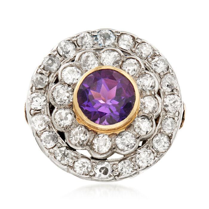 C. 1910 Vintage 2.20 ct. t.w. Diamond and 1.75 Carat Amethyst Cocktail Ring in Palladium. Size 7.5, , default