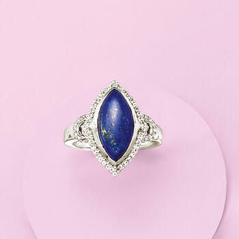 Lapis and .20 ct. t.w. White Topaz Ring in Sterling Silver, , default