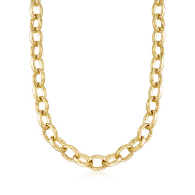 Italian Andiamo Oval Link Necklace in 14kt Gold Over Resin, , default